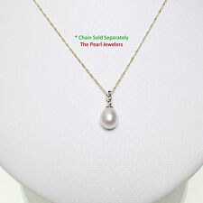 14k Solid Yellow Gold AAA 7-7.5mm White Cultured Pearl & Diamonds Pendant