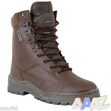 Brown Army Full Leather Military Combat Patrol Boots Tactical Security Cadet