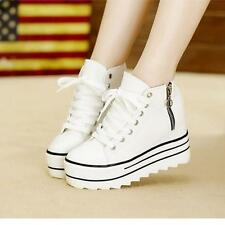 Womens Zipper Sneakers Canvas High Top Platform New Fashion Casual Shoes US 4-8