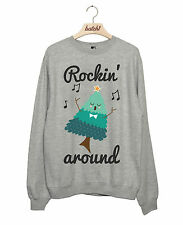 BATCH1 ROCKIN AROUND THE CHRISTMAS TREE NOVELTY XMAS WOMENS SWEATSHIRT JUMPER