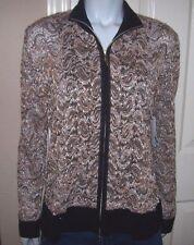 NEW Exclusively MISOOK black brown Lace zipper front sweater jacket Medium RARE