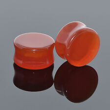 Pair of Organic Red Onyx Ear Flesh Tunnel Ear Gauge Ear Plugs Stretching Earskin
