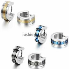 Men's Stainless Steel Roman Number Engraved Hoop Huggies Charm Earrings One Pair