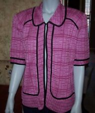 NEW Exclusively MISOOK pink short sleeve sweater jacket small medium large XL
