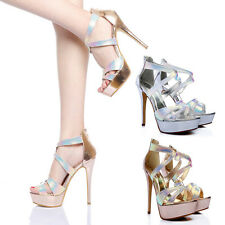 Hot Ladies High Heels Platform Shoes Bridal Prom Evening Party Sandals Strappy