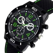 Geneva Fashion Mens Date Watch Digital Dial Silicone Sports Quartz Wrist Watches