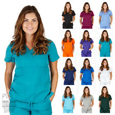 Womens UltraSoft Mock Wrap Top Medical Nursing Uniform V Neck 2 Pocket Scrub