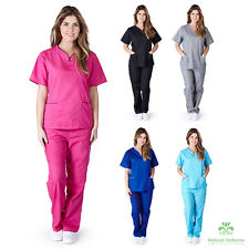 New Womens Contrast Scallop Scrub Set Medical Nursing Clinic Uniform XS S M L XL
