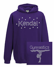 Kids Girls Personalised Custom Diamante Bling Gymnastics Hoodie Gymnast Hoody