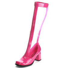 FUNTASMA Retro Costume Block Heel Knee High Boots Mesh Patent GOGO-307 Hot Pink
