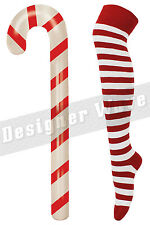 Xmas Gift Set Candy Cane Inflatable Large With Over Knee Socks Striped Womens