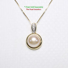 14k Solid Yellow Gold Diamonds; 9-9.5mm Pink Cultured Pearl Enhancer Pendant TPJ