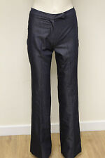 French Connection FCUK womens blue denim look fitted smart trousers size 8 44U34