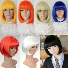 Women Sexy Full Bangs Short Straight Wig BOBO Cosplay Party Full Wigs Multicolor
