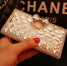 Bling Crystal Diamonds Rhinestone PU leather wallet flip stand Case cover skin v