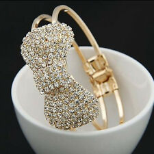 Fashion Girl Crystal Bowknot Bracelet Rhinestone Bow Bangle Wristband Jewelry