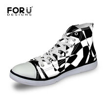 Black White Canvas Shoes Men's Fashion Lace Up High Top Shoes Casual Sneakers