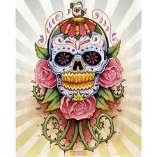 Get Down Art Sugar Skull Canvas Giclee Day of the Dead Girl Tattoo Art