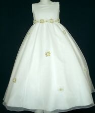 Ivory Flower Girl Communion Confirmation Dresses for Girls |Size 6 8 10 12|