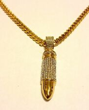 24k Gold Plated Stainless Steel Micro Pave CZ BULLET Pendant 6mm Chain Necklace
