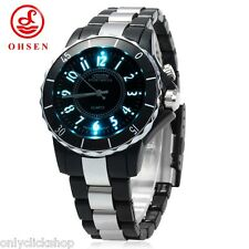 OHSEN FG0736 Sport Men Women Quartz Wrist Watch Analog LED Light 7 Colour Gift