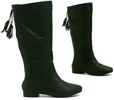 WOMENS LADIES FLAT RIDING TASSEL CALF HIGH PULL ON ZIP SLOUCH WINTER BOOTS SIZE