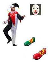 Adult CLOWN COSTUME Fancy Dress Halloween Circus Party Funny Mens Mask Shoes W