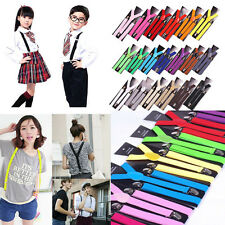 Unisex Mens Womens Clip-on Suspenders Elastic Y-Shape Adjustable Braces Solids