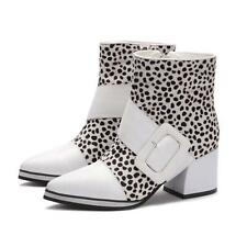 Chic Womens pointy toe ankle boots Leopard buckle chunky heel shoes Pumps Size