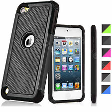 Dual Layers Rugged Rubber Hard Black Shell Case Cover For iPod Touch 5th 6th Gen