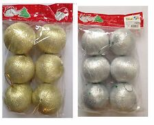 6 x Christmas Xmas Tree Decorations 50mm Plastic Party Baubles Gold & Silver