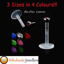 1pc New 16G Bioflex Bio Flex Push In Gem Labret Tragus Lip Ear Bar Stud Piercing