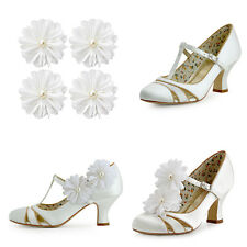 1512AI Flowers Shoe Clip Mary Jane Chunky Heel T-strap Satin Wedding Party Shoes