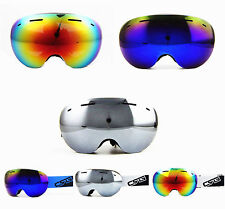 Women/Mens Rimless Oversized Double Lens Antifog UV Mirror Snowboard Ski Goggles