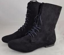 Wild Diva Lounge Mason - 31 Black Women's Faux Suede Mid Calf Lace Up Boots