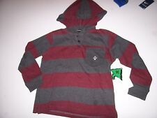 NEW LRG Lifted Research Group long sleeve hoodie shirt boys red gray stripe sz 4