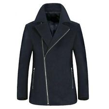 Mens Winter Warm Zip Pea Coat Outwear Trench Coat Mid Long Jacket Overcoat Size