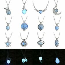 Magic Aqua Blue Heart Glow in the dark Fairy Rhinestone Necklace Pendant Jewelry