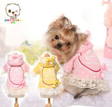 DOG PUPPY CAT Cotton Custom Harness Dress Crown Pink Lace Bow Pretty Party O