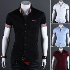 Fashion Mens Luxury Casual Stylish Slim Fit Top Short Sleeve Casual Dress Shirts
