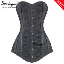 Black Brocade 12 Steel Boned Long Overbust Corset Lace Up Bustier Top Plus Size