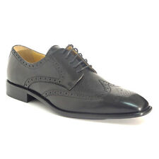 Calzoleria Toscana 7181 Calfskin & Deerskin Wingtip Black Leather Dress Shoes