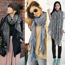 Hot Luxury Women Vintage Long Soft Cotton Voile Printed Scarves Shawl Wrap Scarf