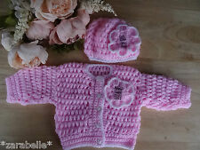 Baby Girl Pink Hand Knitted Crochet Cardigan & Beret Flower Hat Set 0-3 mths