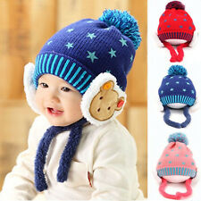 Winter Warm Baby Knitted Hat Children Kid Cap Earflaps Thickening Infants Hats
