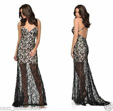 BLACK & NUDE SHEER LACE APPLIQUE FISHTAIL MAXI EVENING PARTY DRESS 8-16