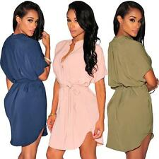 Woman Asymetrical Chiffon Shirt Dress V Neck Short sleeve Mini Dress Casual NK8V