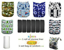 LilBit 6 pcs Pack Reusable Washable One Size Pocket Baby Cloth Diapers