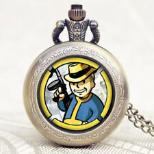 Vintage Steampunk Fallout 4 Vault Necklace Quartz Men's Pocket Watch Xmas Gift