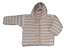 Baby Boy Girl Unisex Hand Knitted Stripy Hooded Cardigan Cream/Beige Newborn